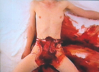 Aktion 2002, Hermann Nitsch; Young woman, whose sexual organ was drenched in animal blood, and with an animal brain placed upon her.